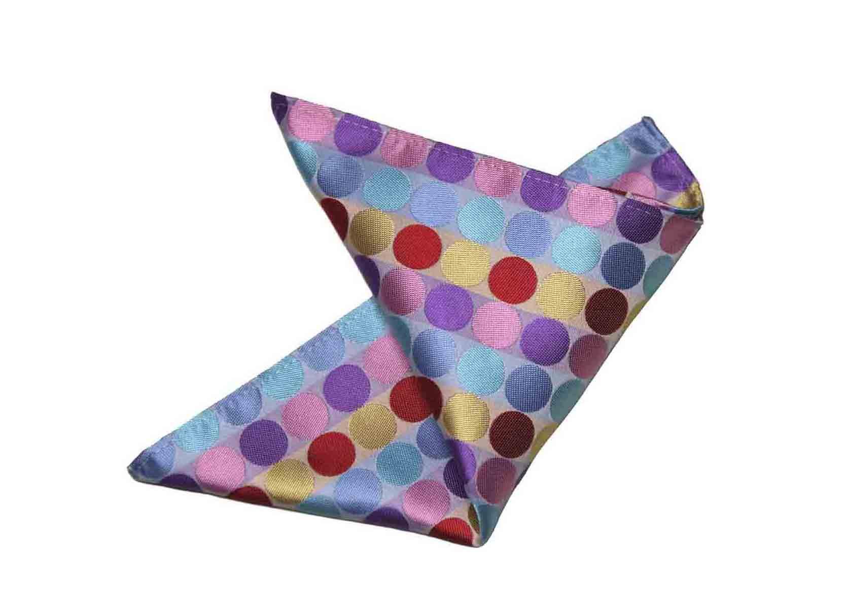 Gascoigne Pocket Square Silk Colorful Polka Dots Men's