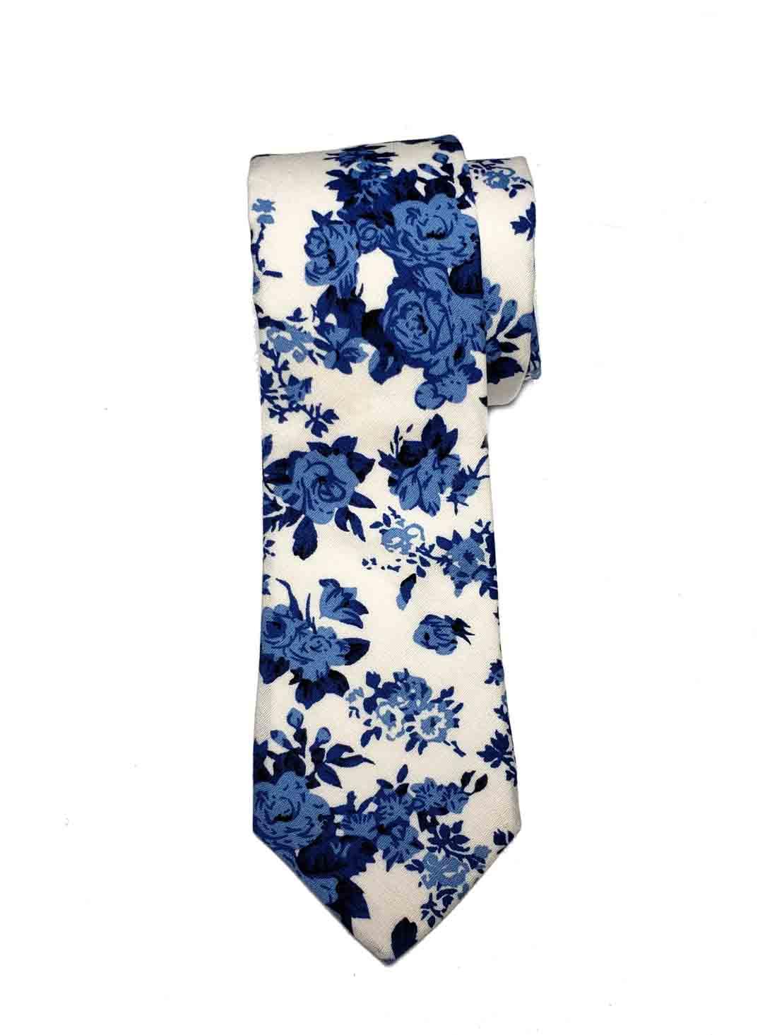 Gascoigne Tie Blue White Floral Cotton Narrow Men's