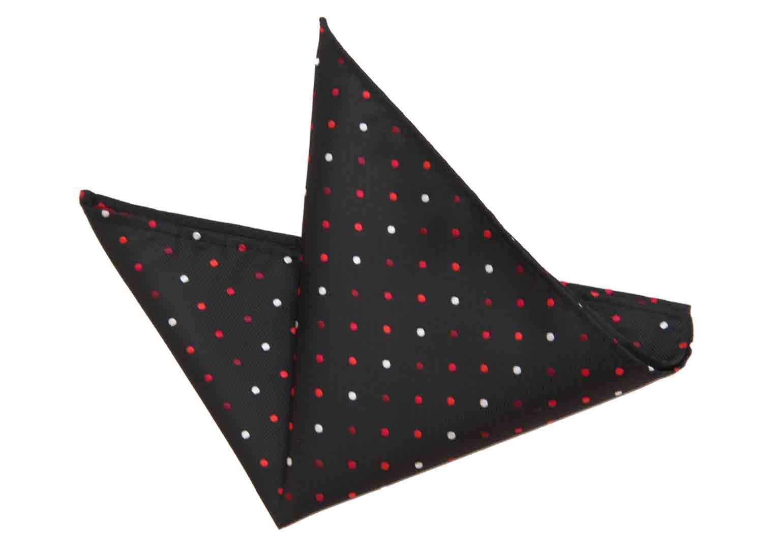 Gascoigne Pocket Square Silk Black Red White Polka Dot Men's