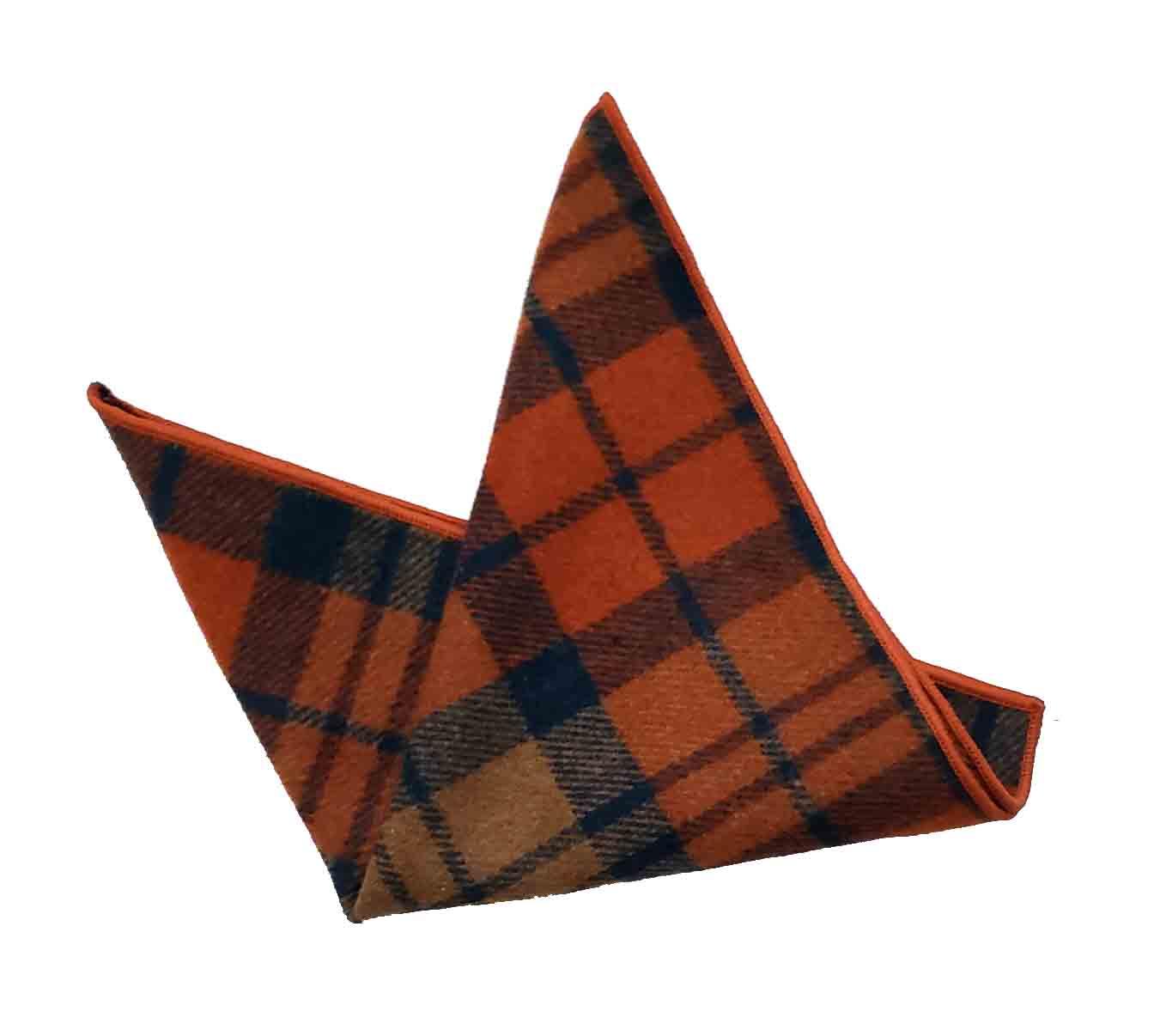 Gascoigne Pocket Square Wool Blend Plaid Orange Brown Black Men's