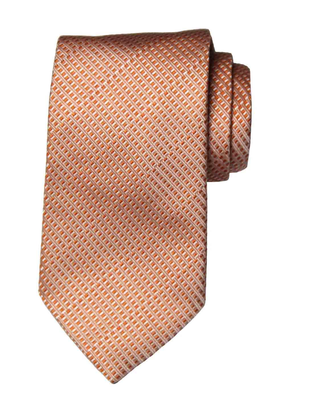 Giorgio Armani Tie Italian Silk Orange White Geometric Men's Long