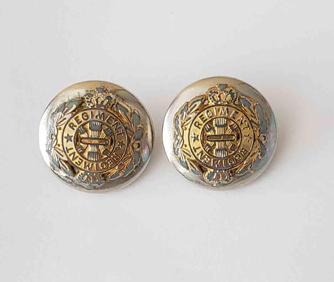 Two Vintage Regiment Blazer Buttons Dome Shank Gold Silver Men's