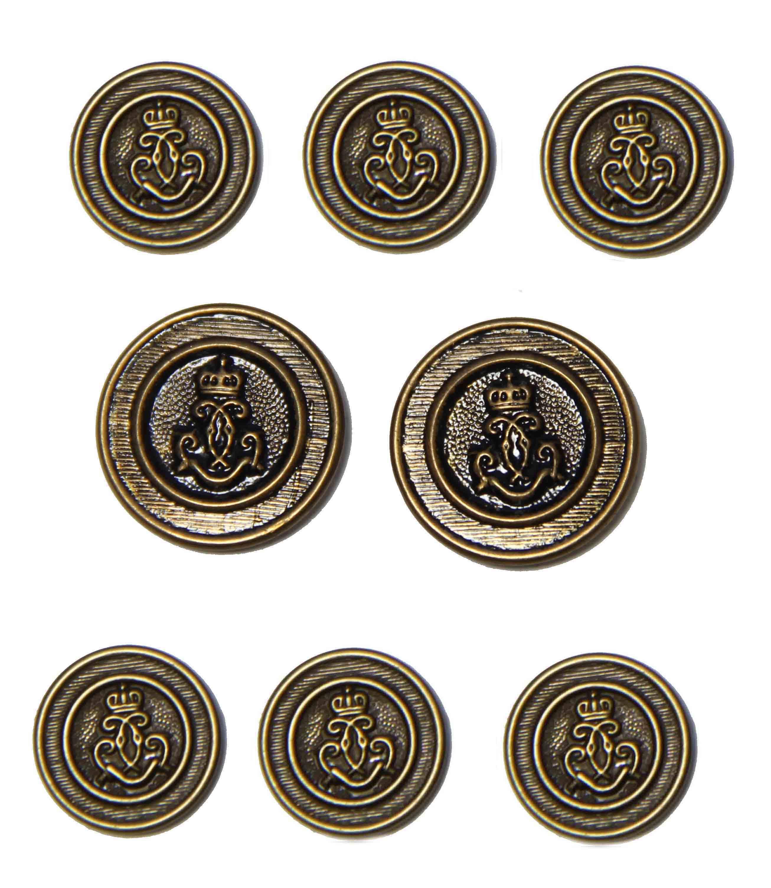 Vintage Haggar Blazer Buttons Set Antique Gold Brown Brass Shank 1970s Men's