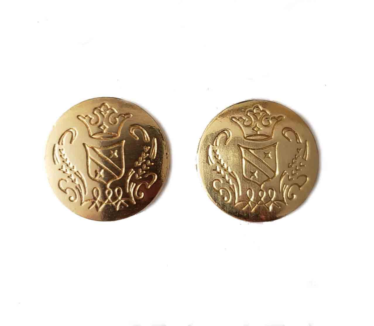 Two Vintage Hart Schaffner Marx Blazer Buttons Gold Brass Crown Shield Men's
