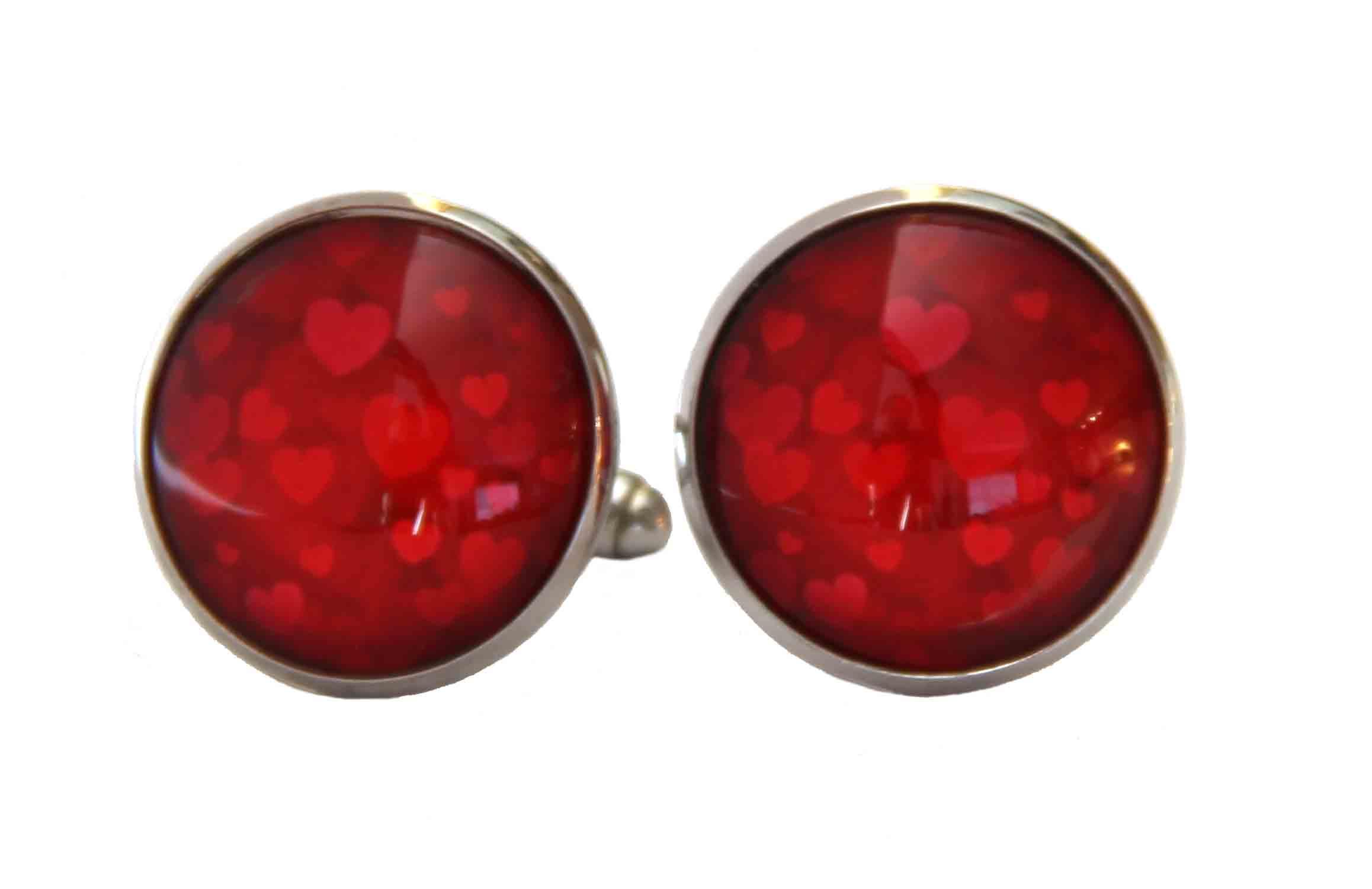 Gascoigne Love Hearts Cufflinks Red Valentines Handmade Men's
