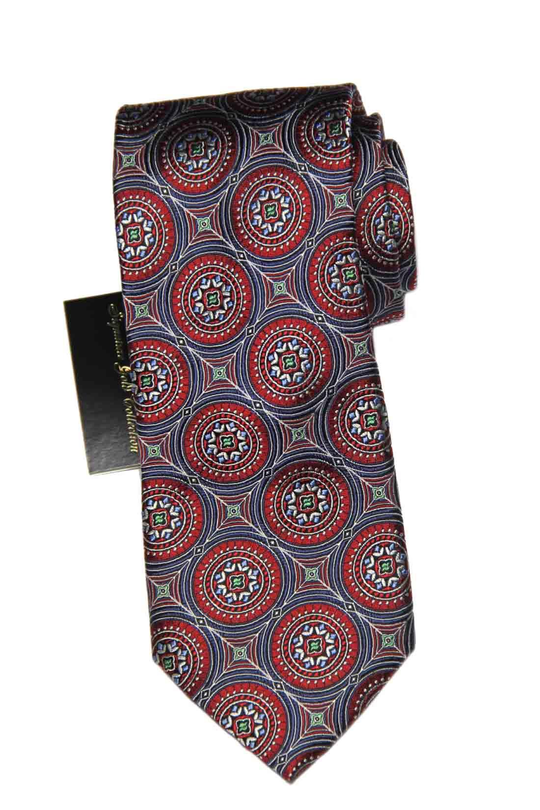 Jos A Bank Tie Silk Red Gray Geometric Men's