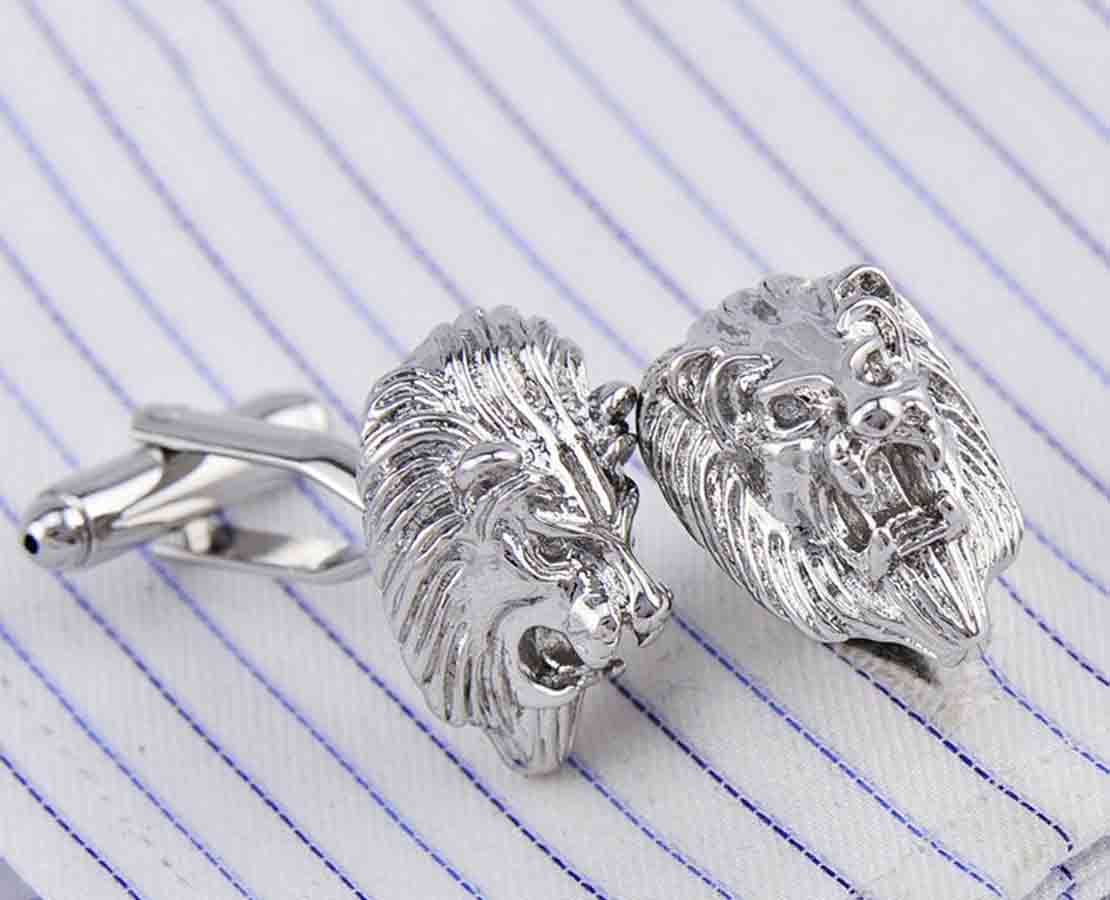 Gascoigne Lion Head Metal Cufflinks Silver Zinc Alloy Men's