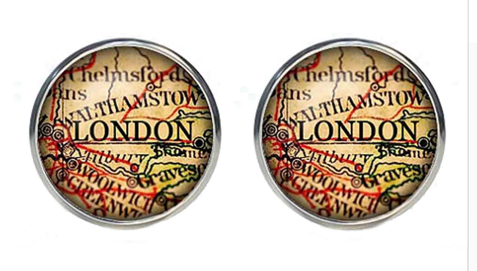 Gascoigne London England Old World Map Cufflinks Men's