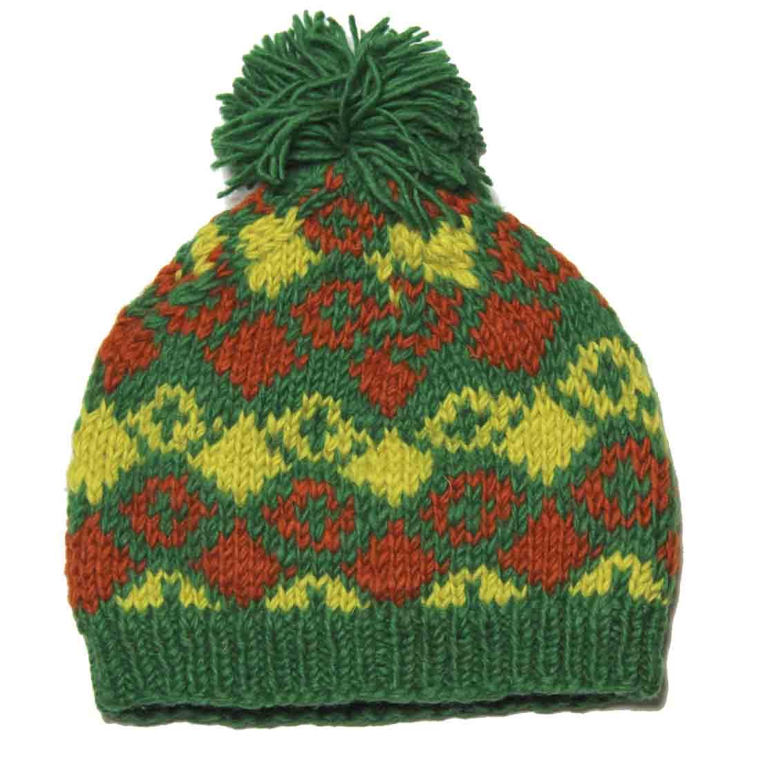 Nordbron Beanie Hat Handcrafted Wool Nepal Yellow Green Orange Men's OS
