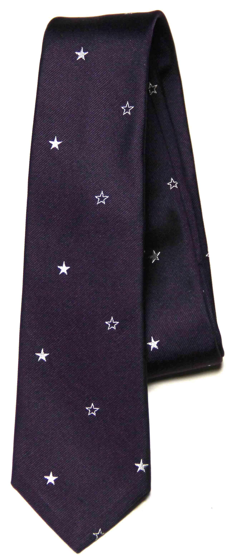 Paul Smith Italian Silk Tie Purple White Stars Skinny Men's