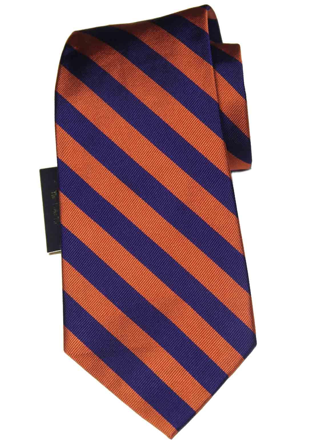 Polo by Ralph Lauren Repp Stripe Tie Silk Orange Purple Men's Short 56 inches