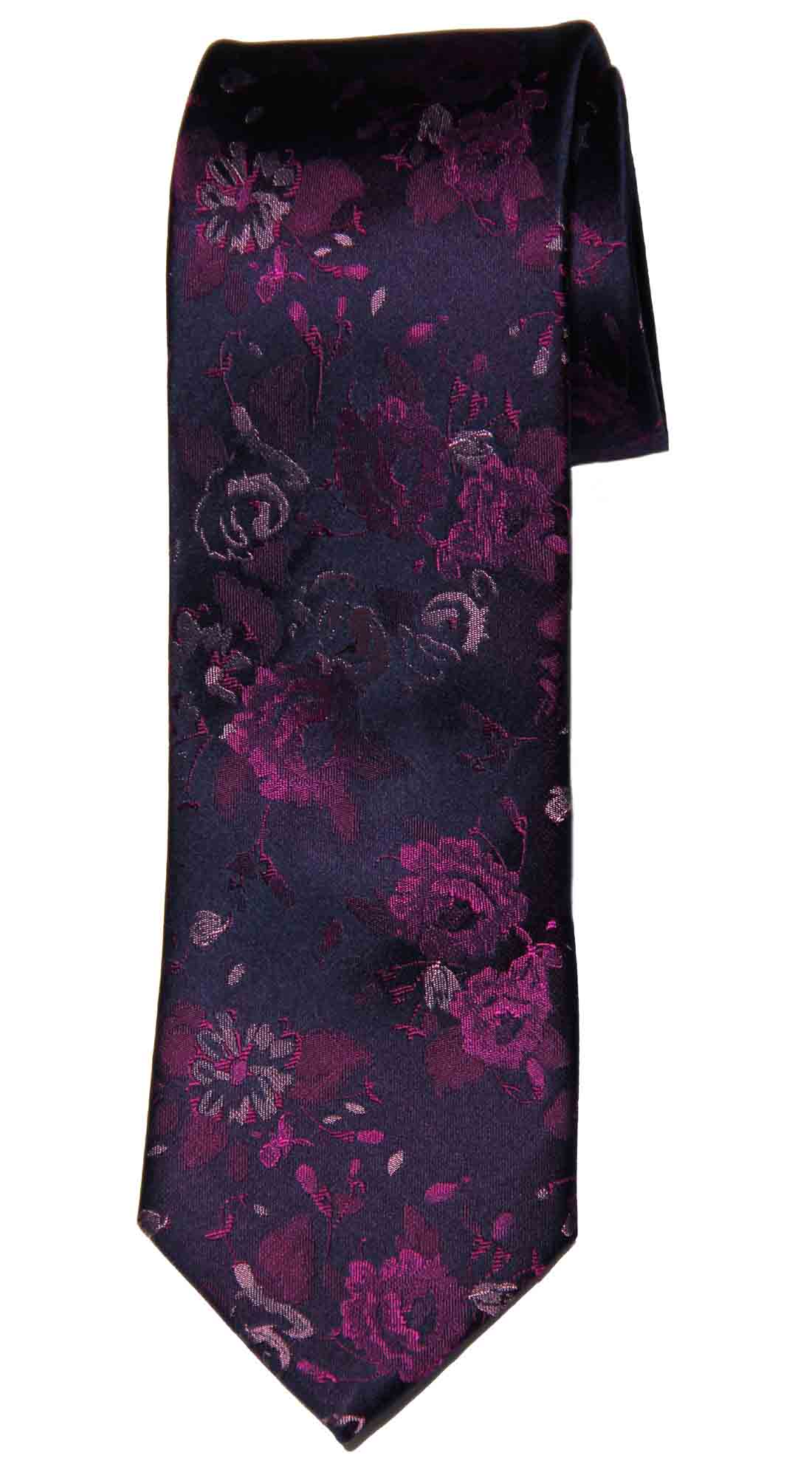 Tresanti Reale Tie Silk Purple Pink Black Floral Men's