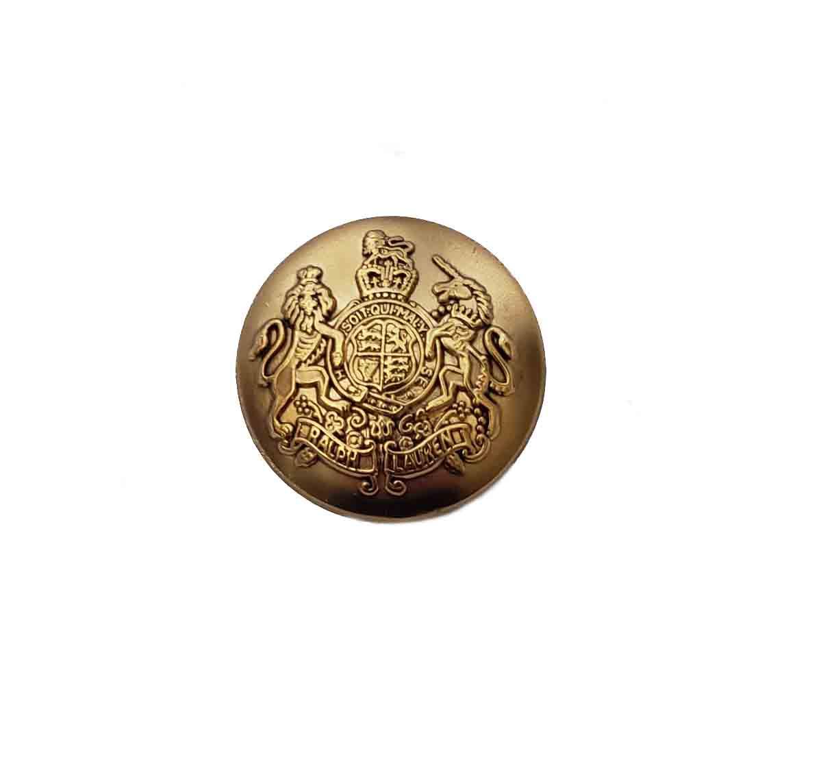 One Vintage Ralph Lauren Dome Blazer Button Dark Gold Brass Lion Unicorn 7/8 Inch