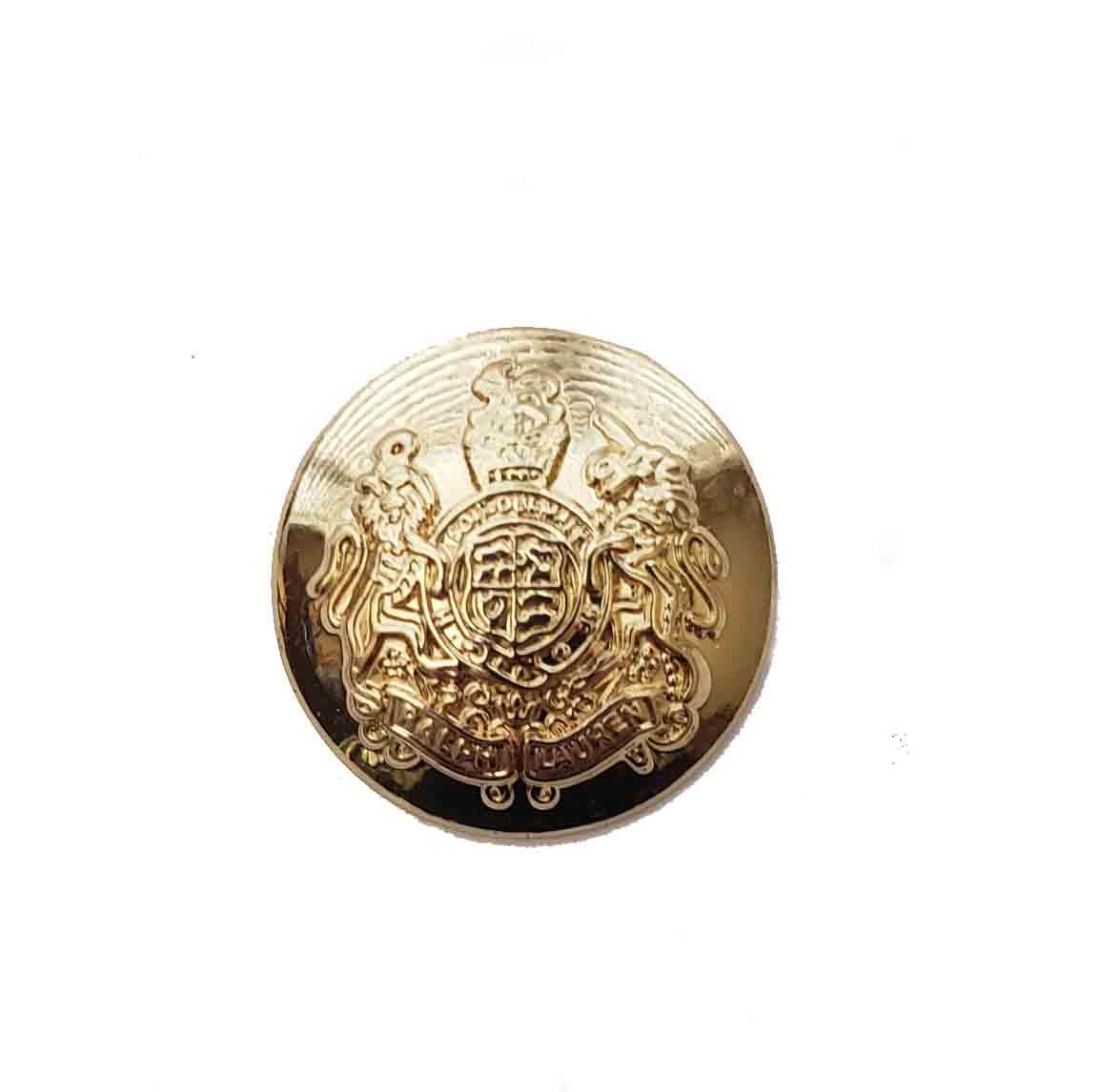One Ralph Lauren Dome Gold Brass Replacement Blazer Button Lion Unicorn 7/8