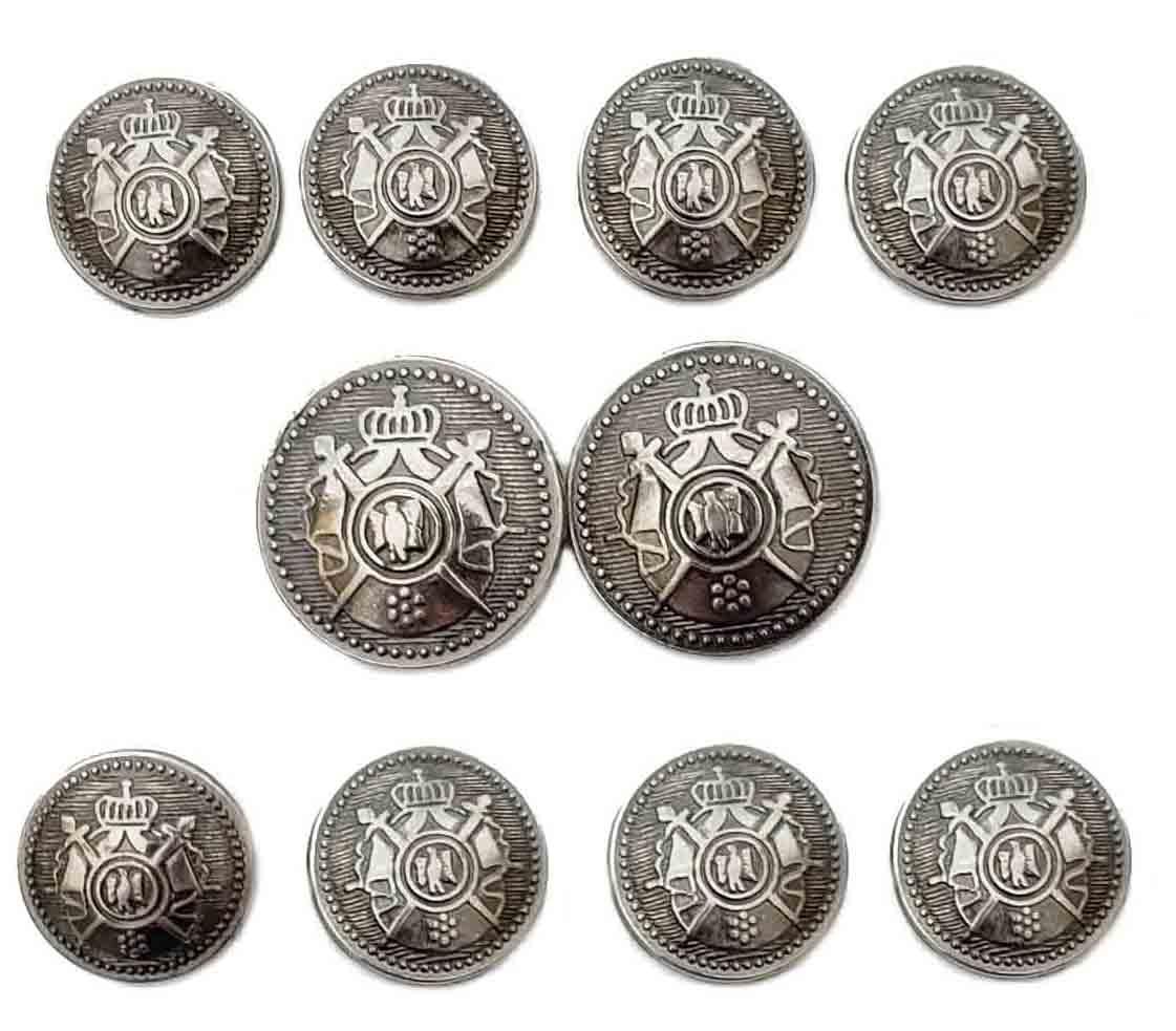Vintage Kingsridge Blazer Buttons Set Silver Gray Metal Shank Crown Swords Men's