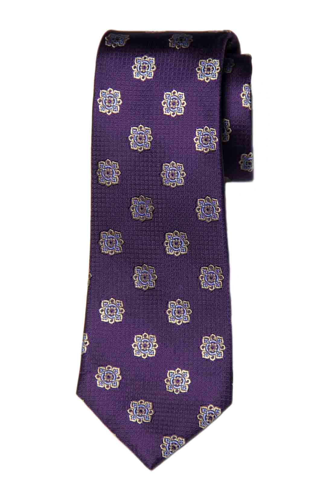 Tasso Elba Silk Tie Purple Yellow Blue Floral Men's