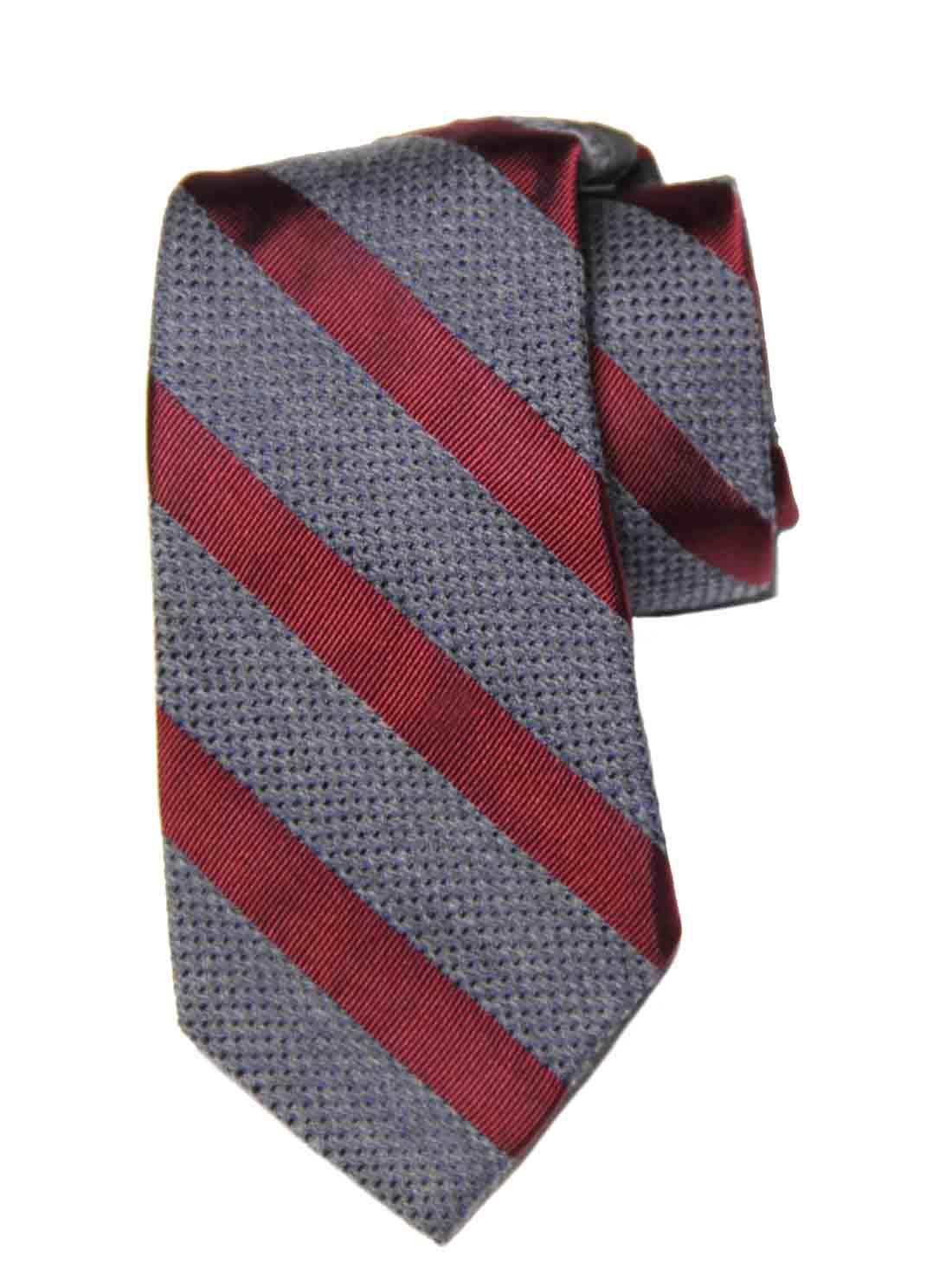 Tasso Elba Teramo Stripe Tie Red Gray Silk Wool Cotton Striped Men's