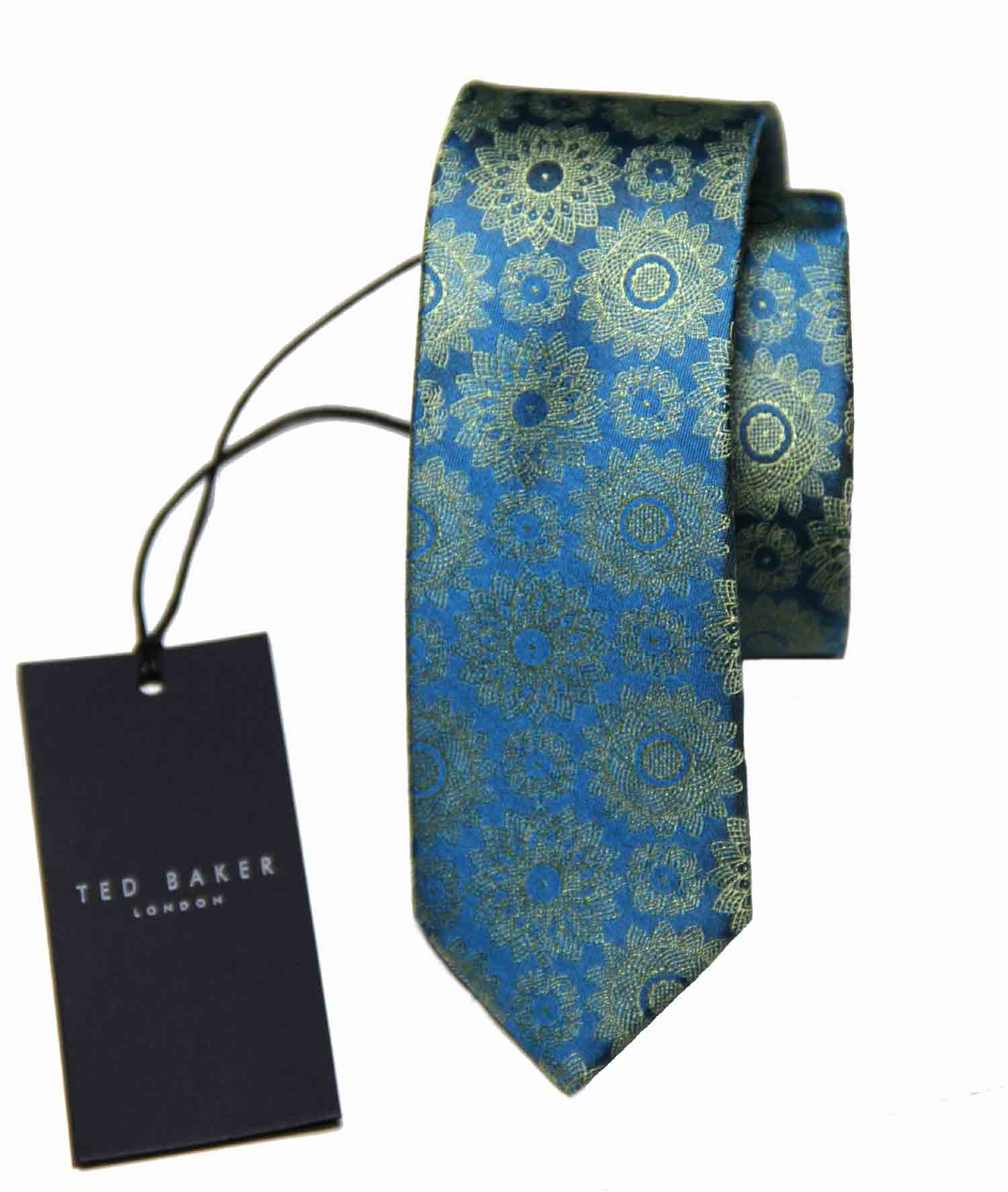 Ted Baker Silk Tie Teal Yellow Floral Narrow Men's