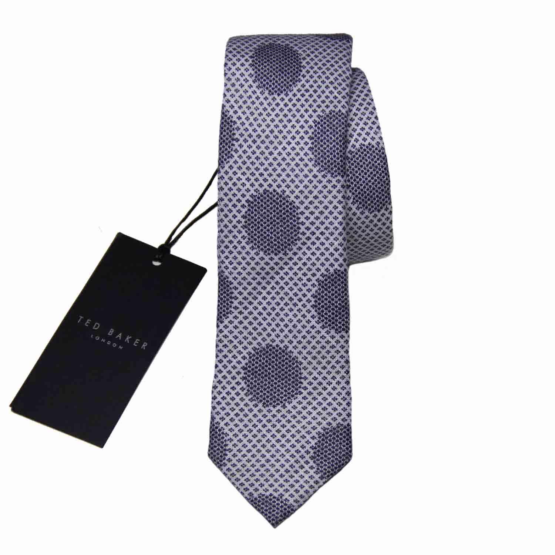 Ted Baker Linen Blob Tie Narrow Black Gray Men's