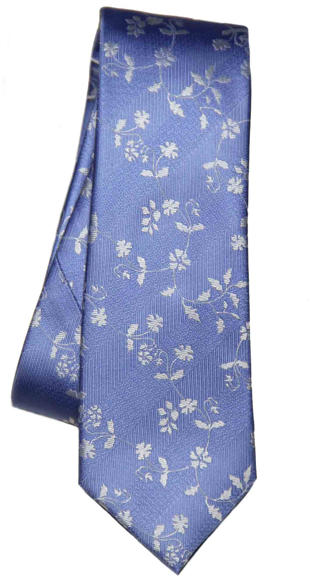 Tresanti Reale Silk Tie Blue White Floral Men's Long