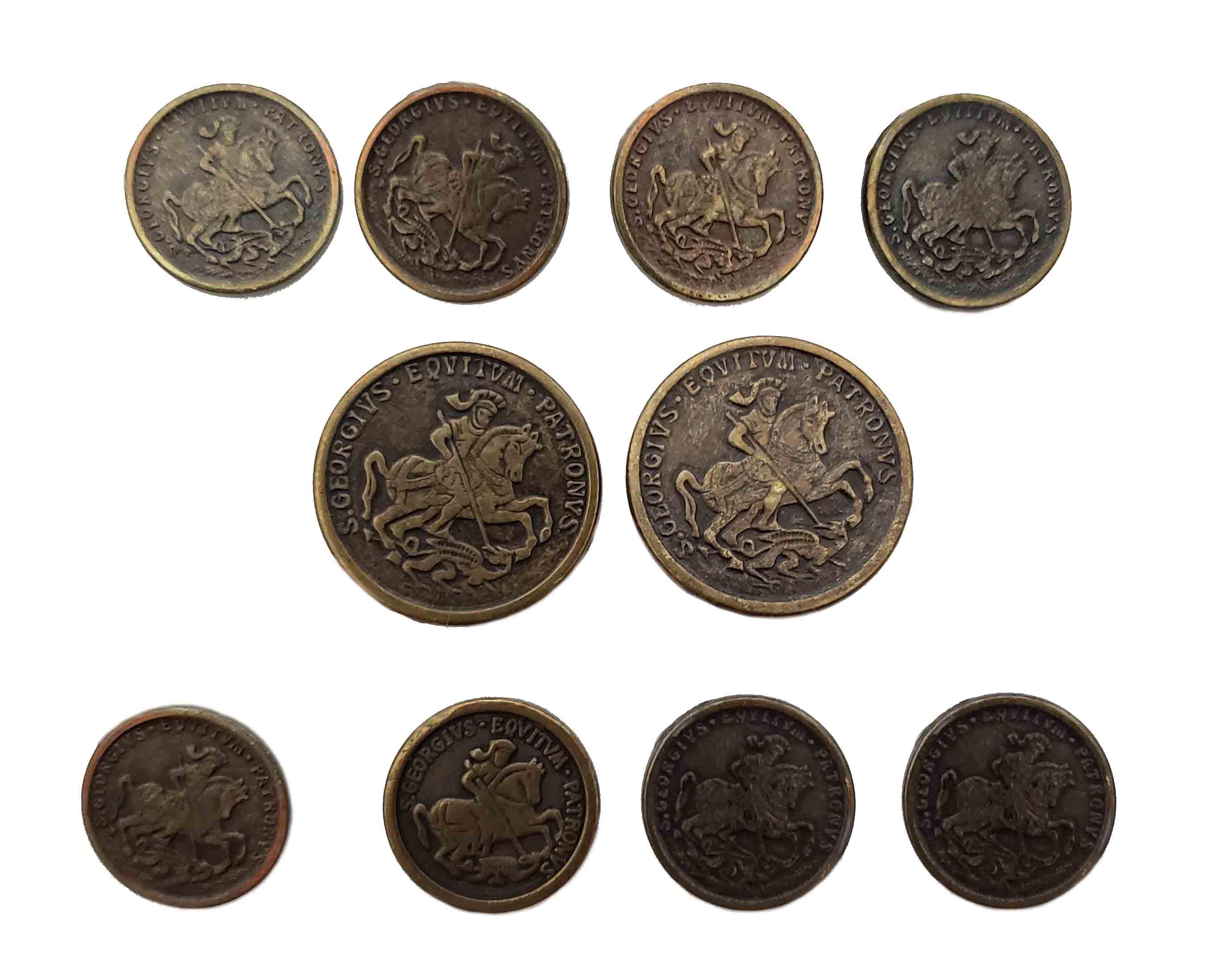 Vintage Pierre Cardin Blazer Buttons Set Antique Gold Brown Shank Brass Alloy Roman Horseman Pattern Men's