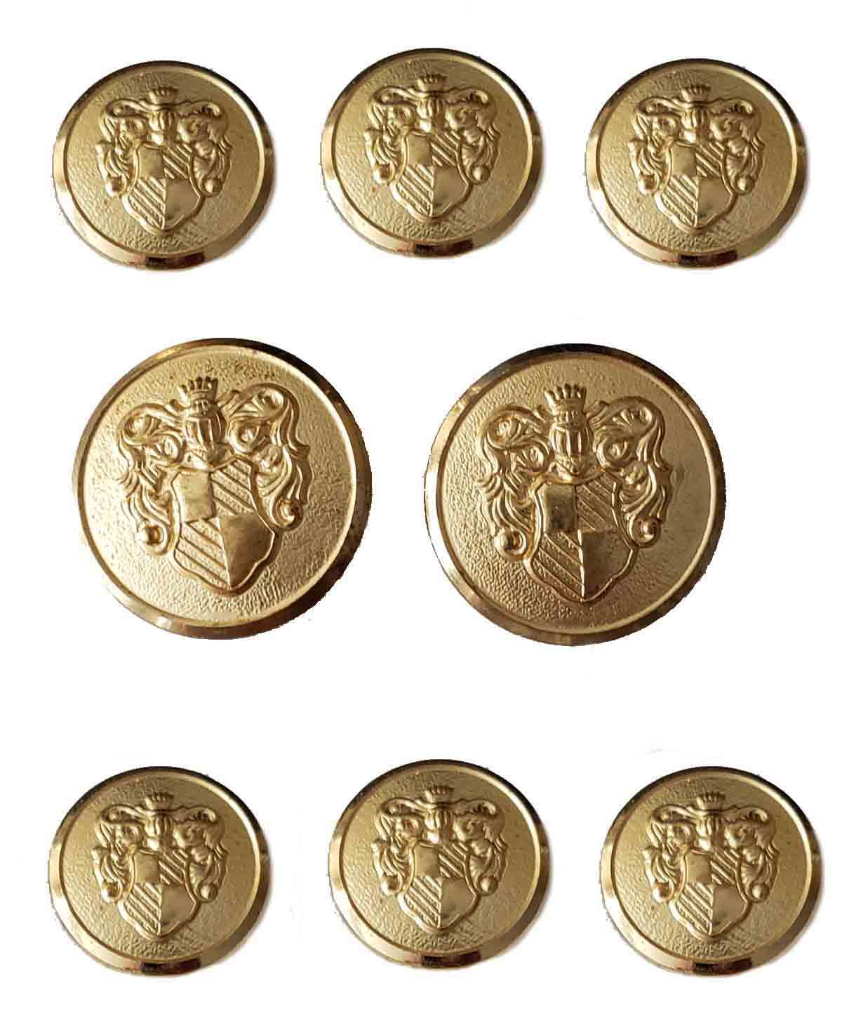 Vintage Waterbury Blazer Buttons Set Gold Brass Shank Crown Shield Men's