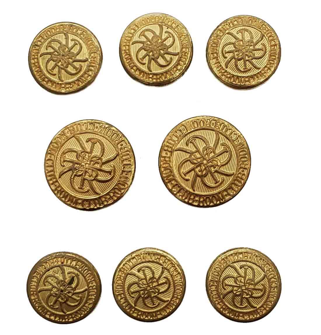 Vintage Waterbury Blazer Buttons Set Gold Brass Shank Men's