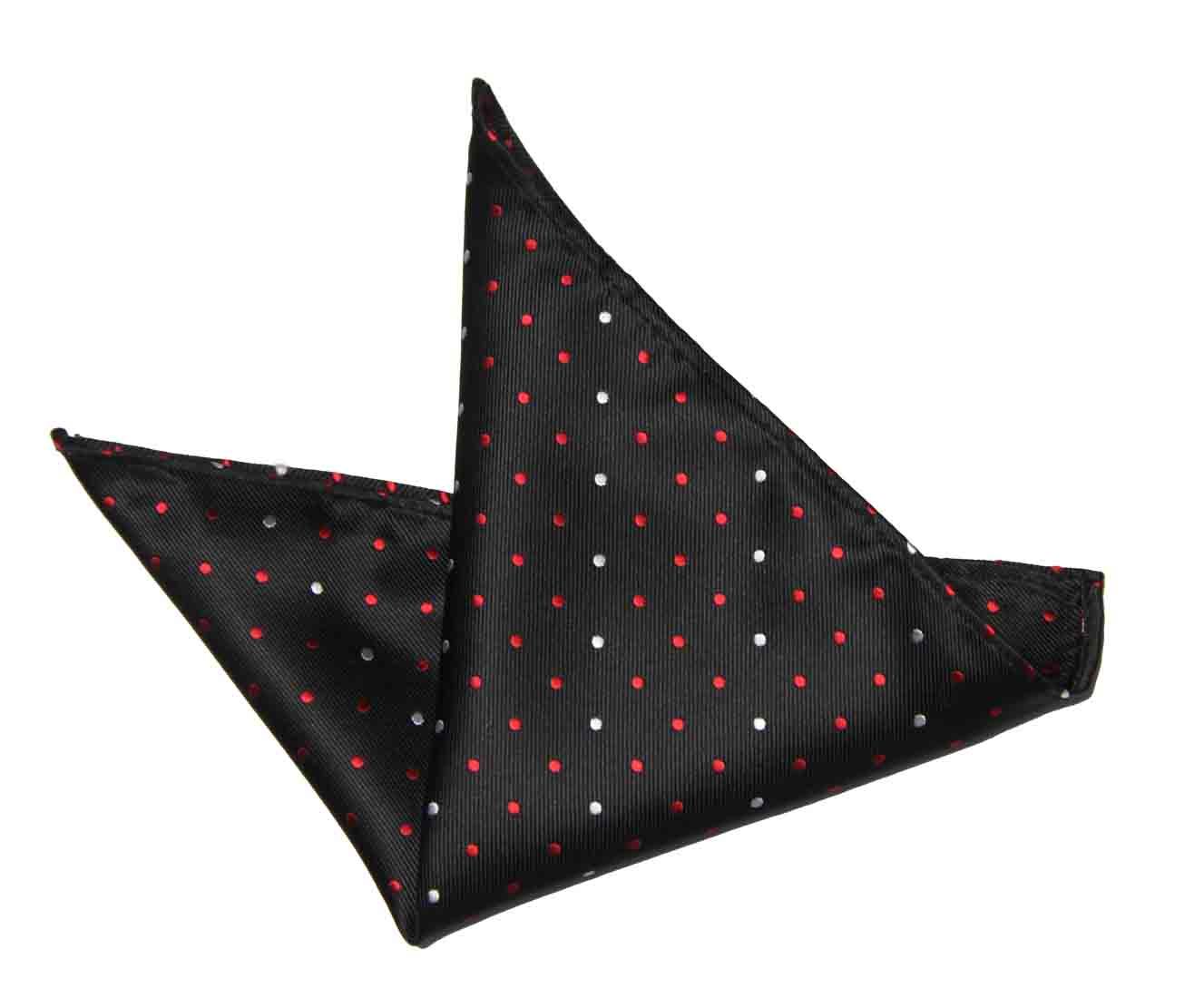 ekSel Pocket Square Black Red White Polka Dot Men's