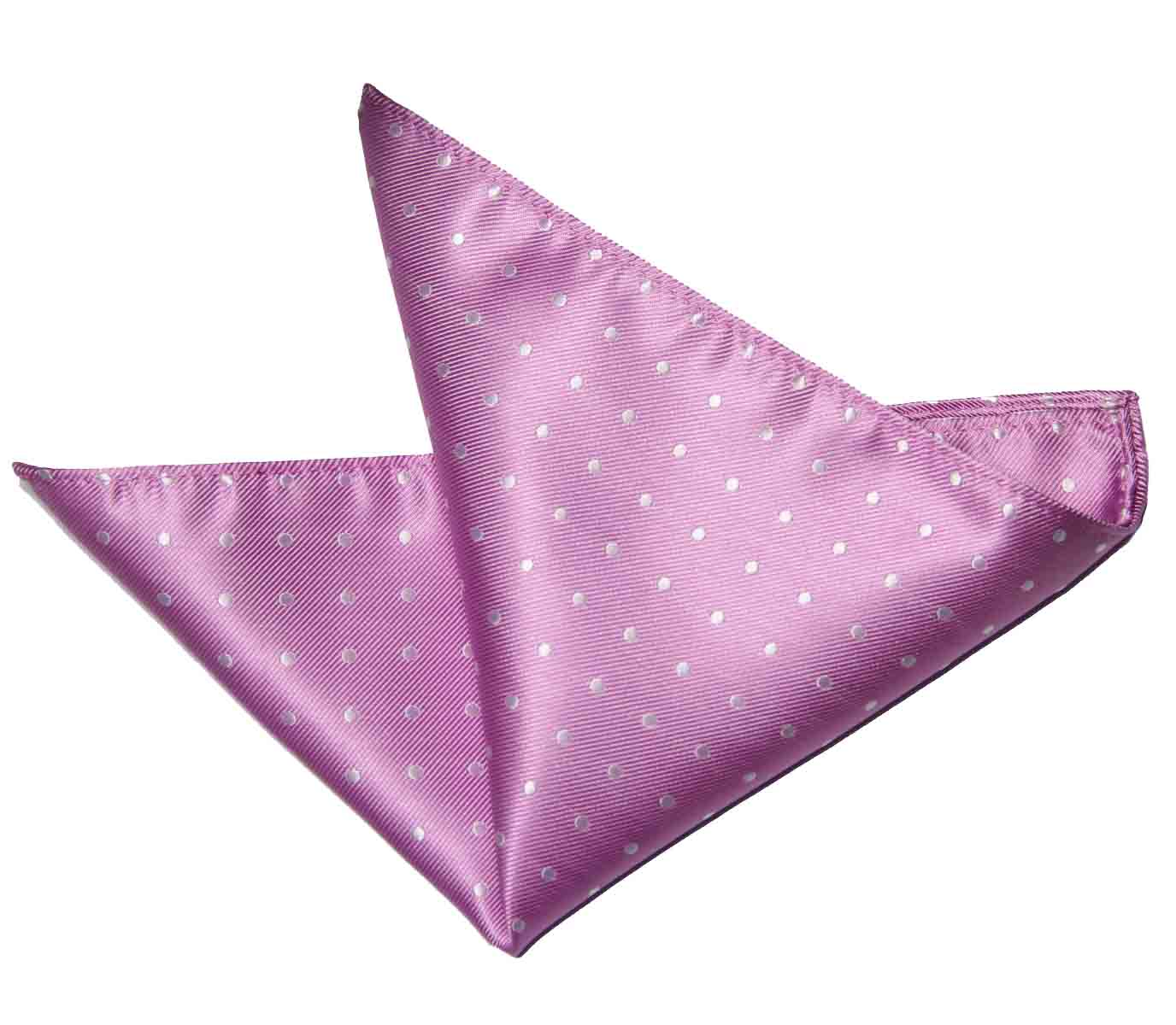 ekSel Pocket Square Pink White Polka Dot Men's