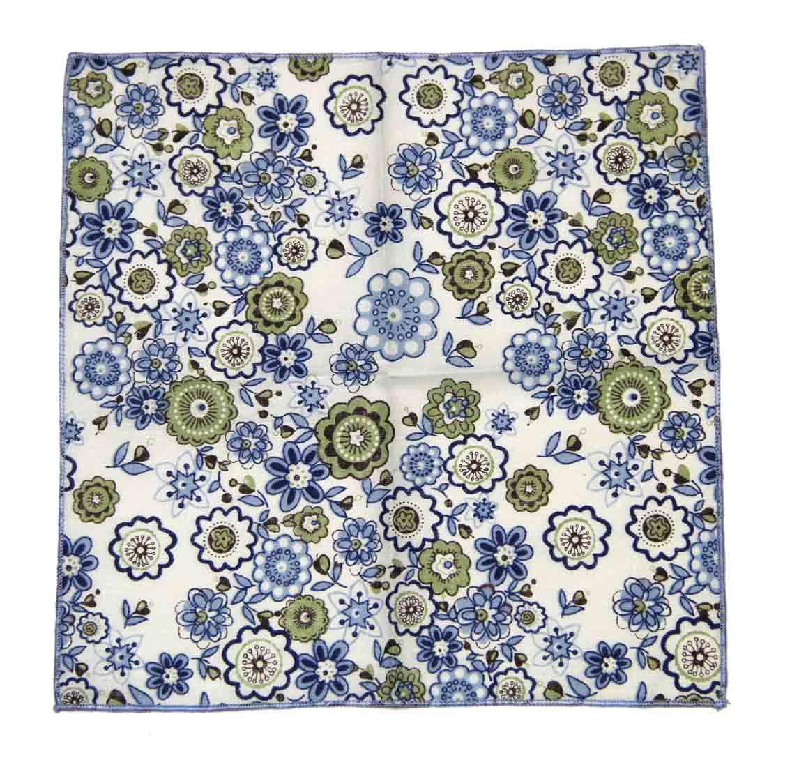 Gascoigne Pocket Square Floral White Navy Blue Brown Green Men's