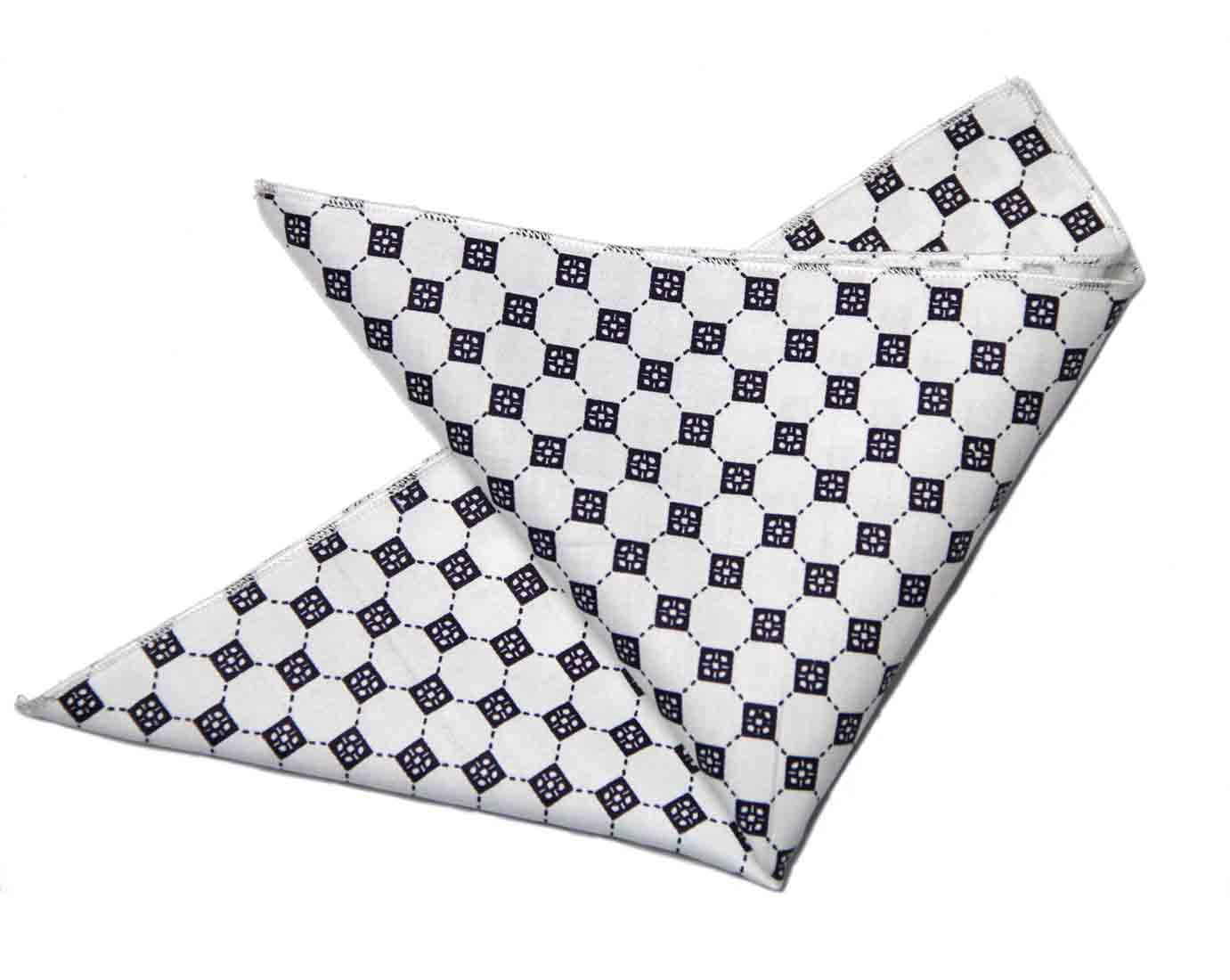 Gascoigne Pocket Square White Black Geometric Men's