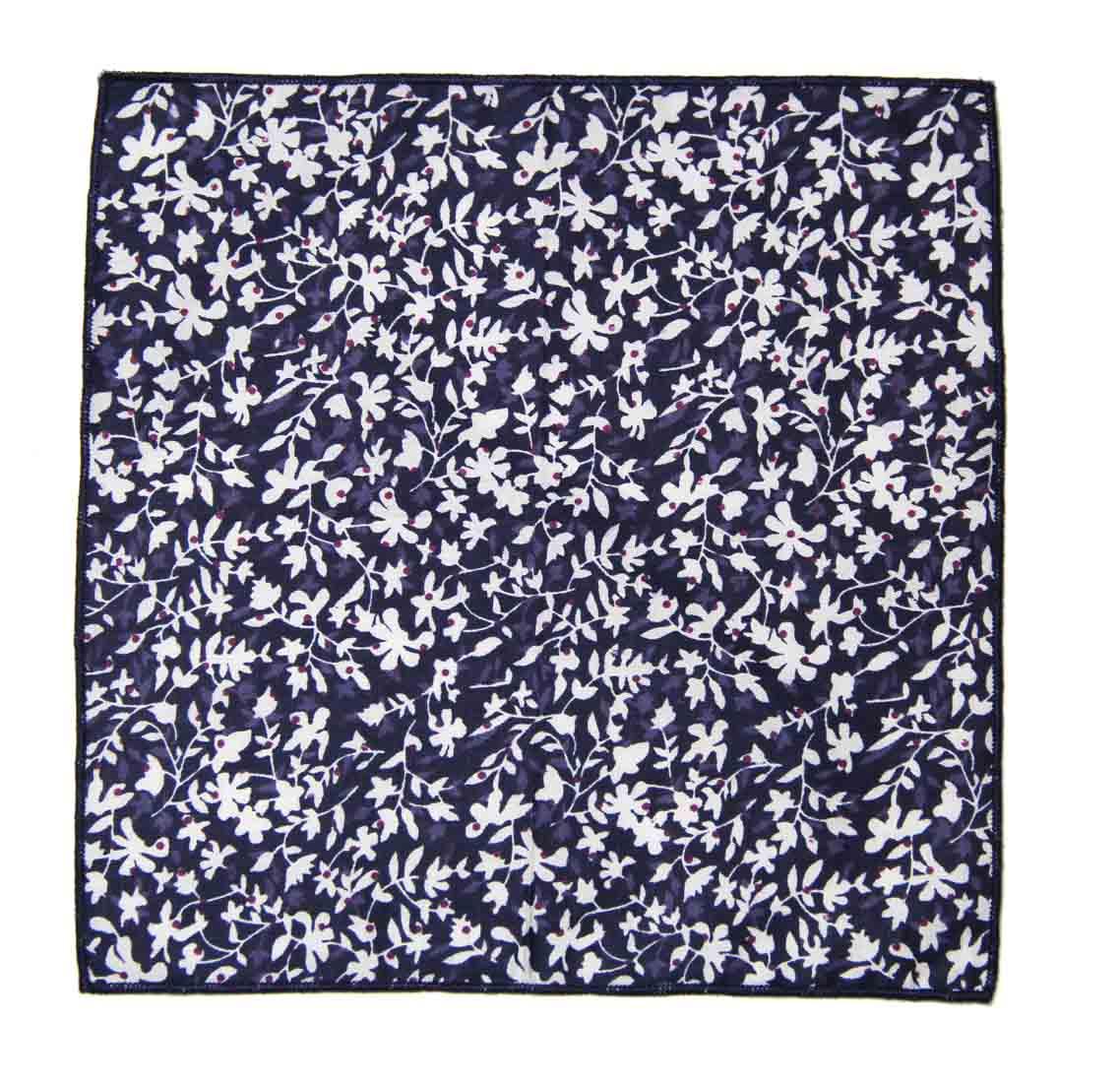 Gascoigne Pocket Square Floral White Navy Blue Purple Men's