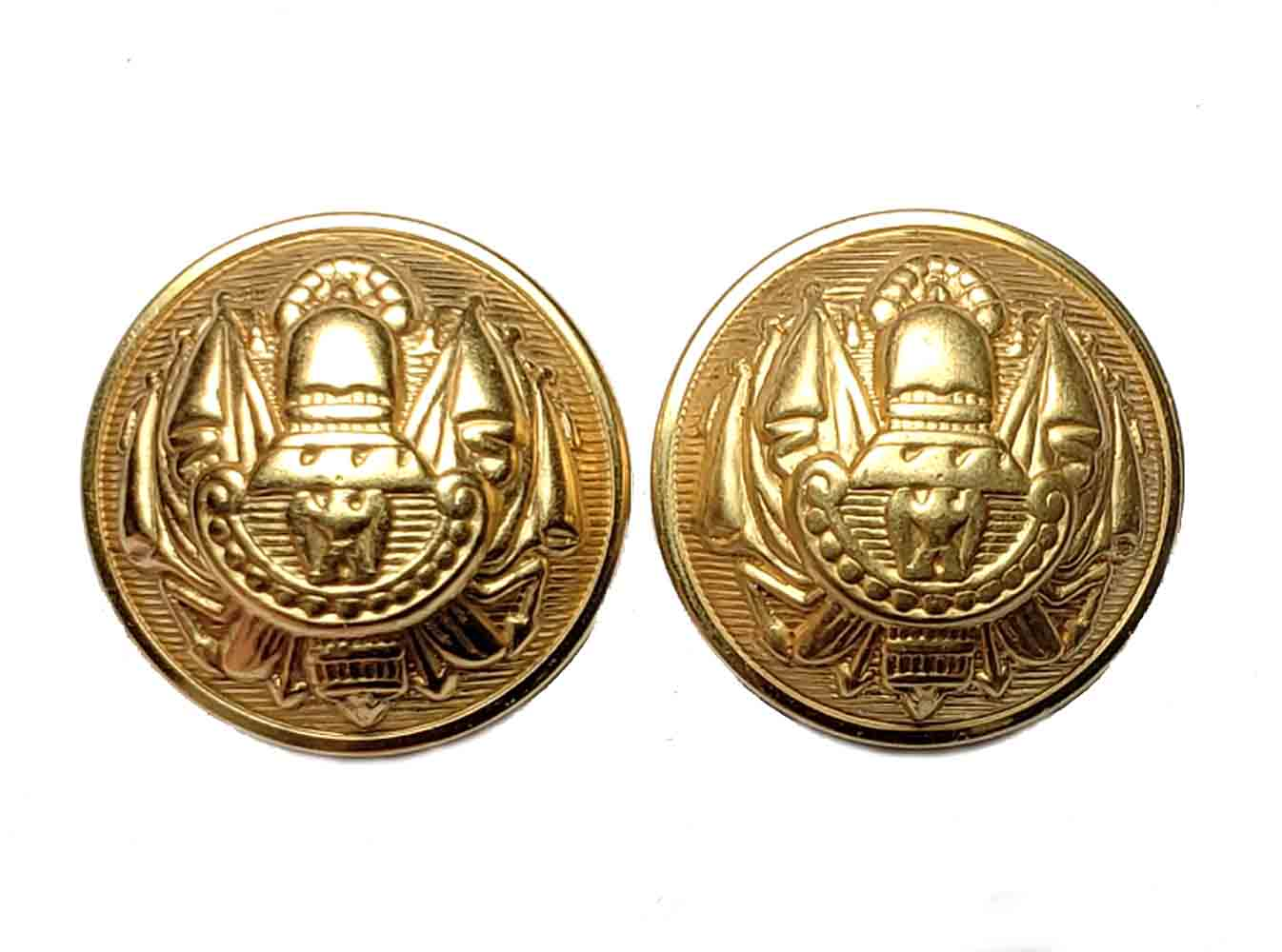 Two Vintage Amherst Dome Blazer Sport Coast or Jacket Buttons Gold Brass Shank Men's 7/8 Inch
