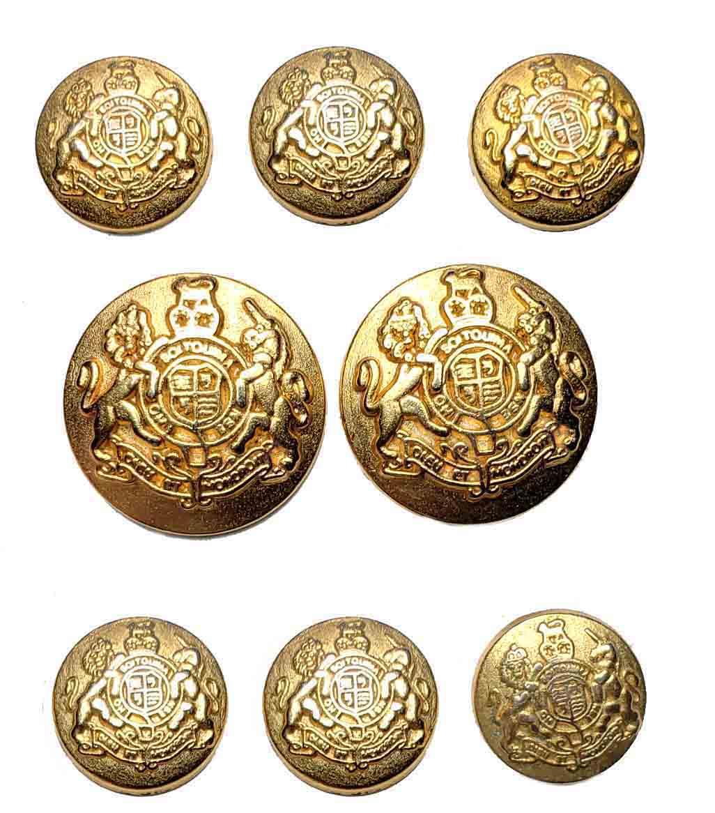 Vintage Amherst Dome Blazer Buttons Set Gold Brass Shank Lion Unicorn Shield Men's