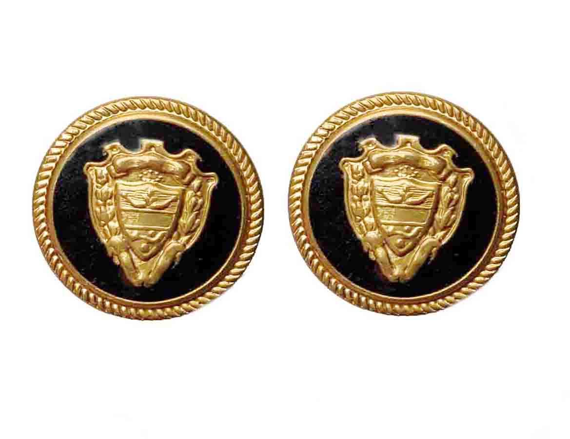 Two Vintage Austin Reed Blazer Buttons Gold Black Enamel Brass Shank Shield Emblem Men's