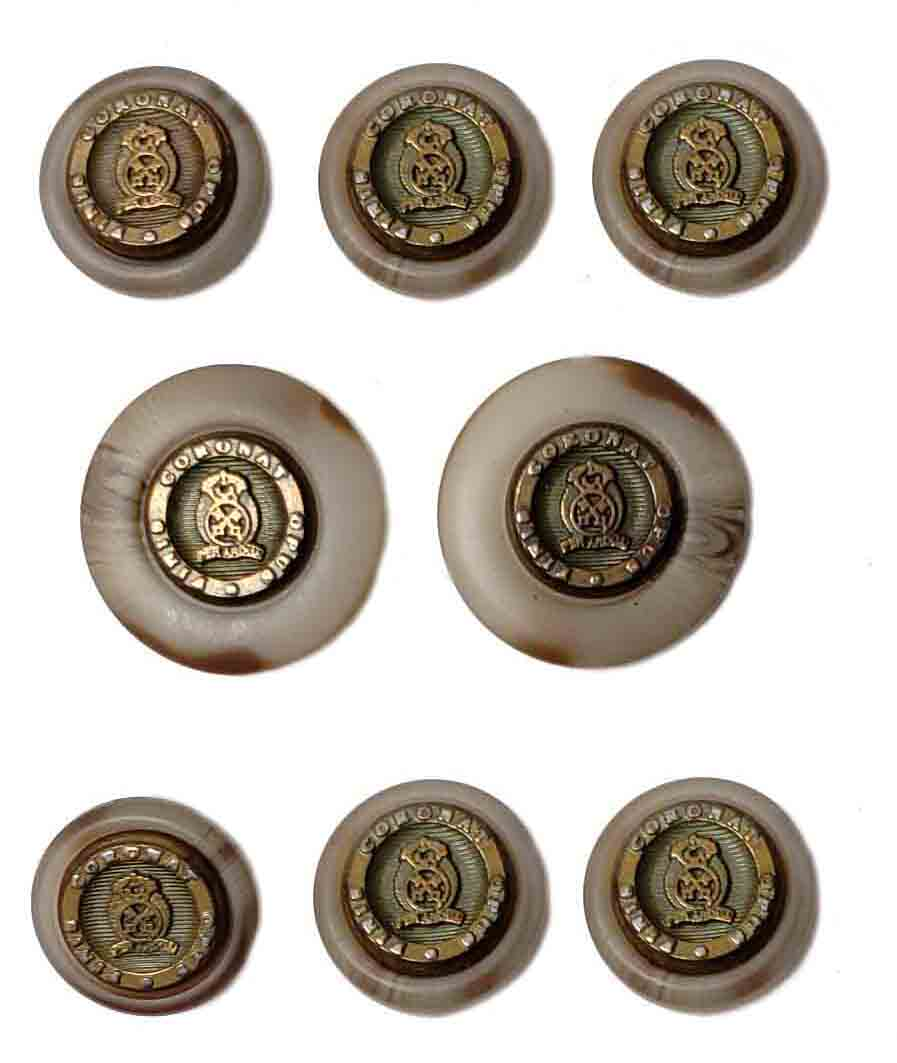 Vintage Bert Pulitzer Blazer Buttons Set Gray Brown Gold Metal Resin Men's