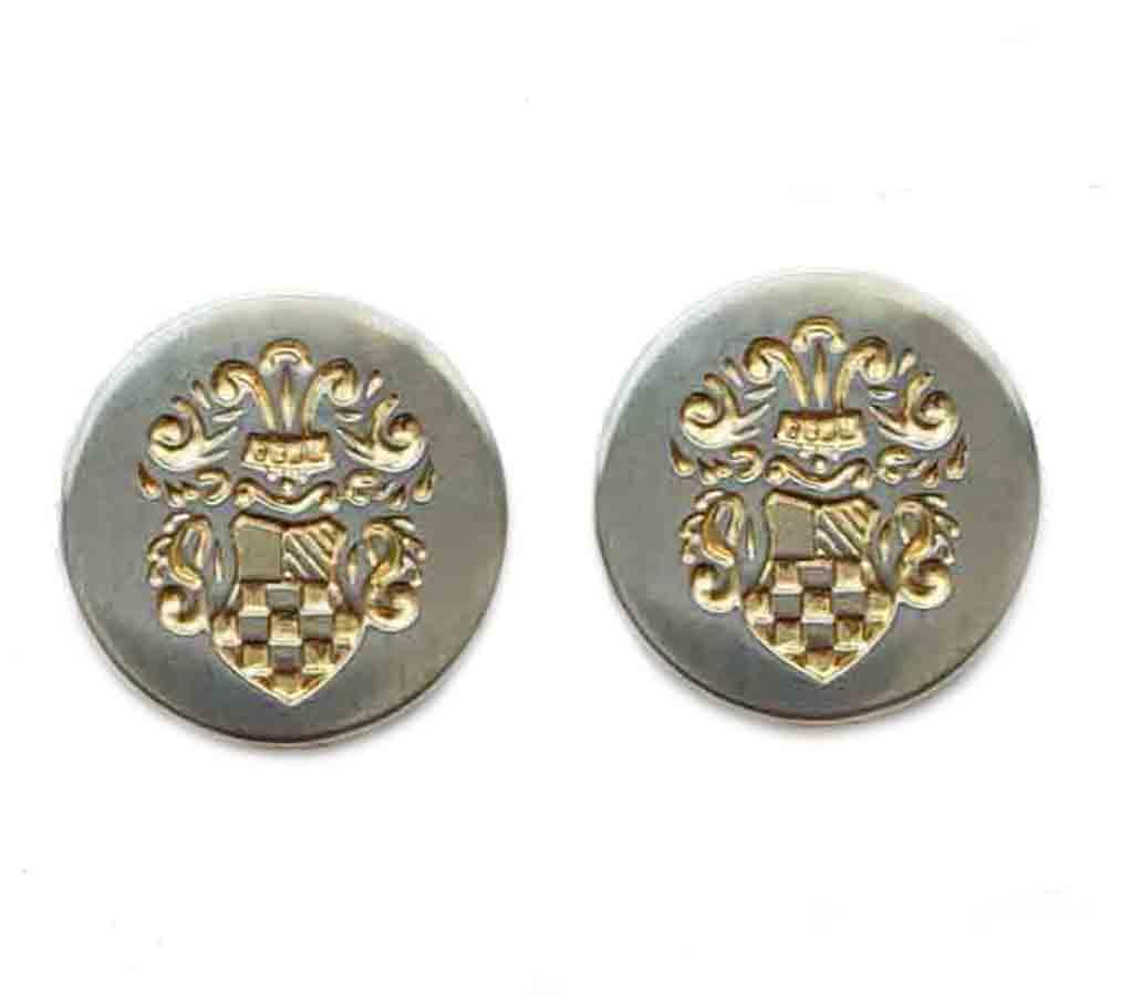 Two Vintage Botany 500 Blazer Buttons Silver Gold Metal Ornate Shield Pattern Men's