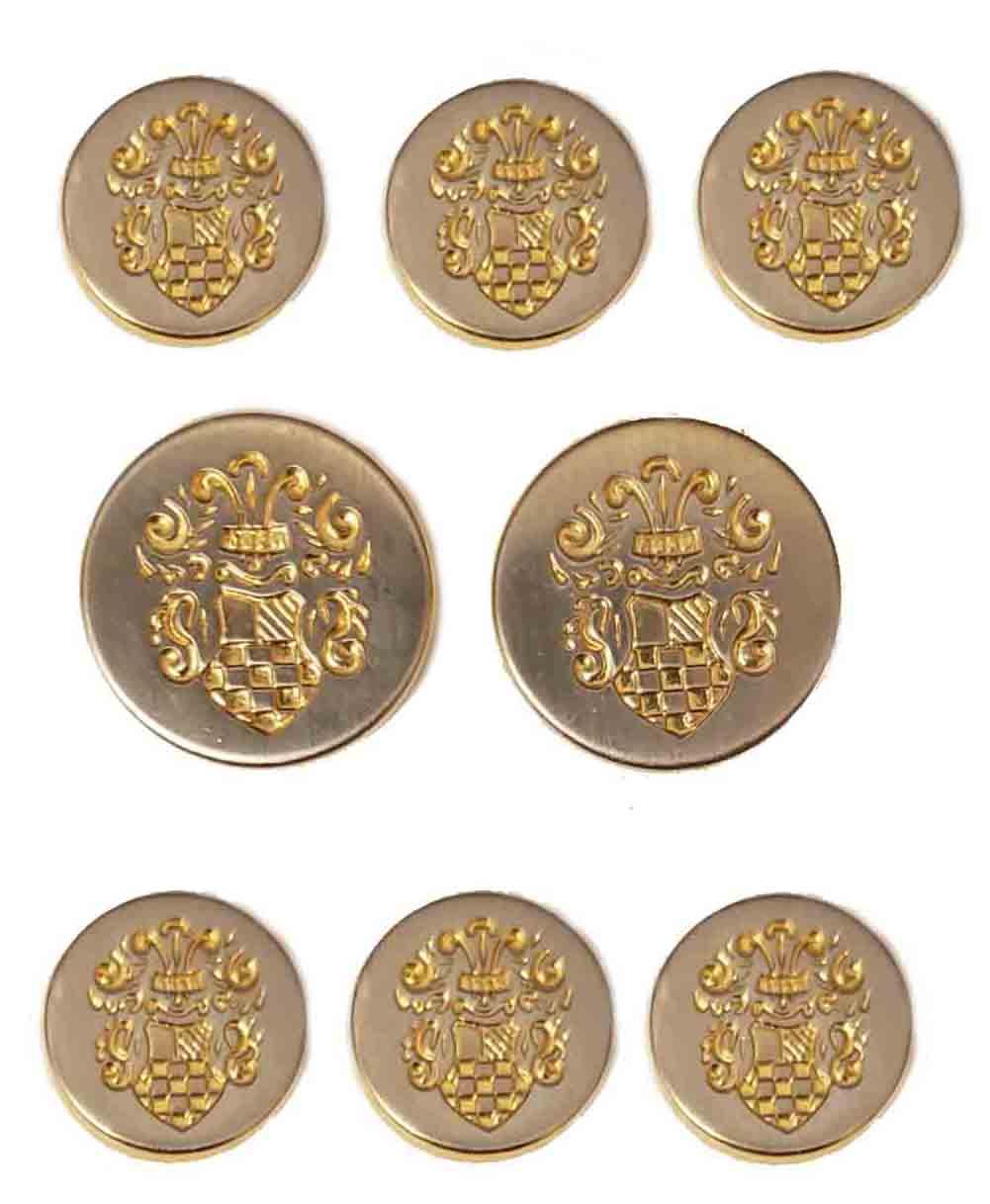 Vintage Botany 500 Blazer Buttons Set Silver Gold Metal Ornate Shield Pattern Men's