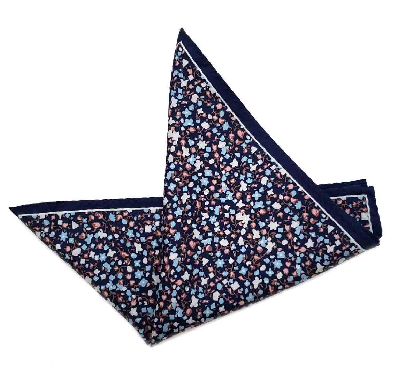 Floral Pocket Square Navy Blue Pink White Brown Men's
