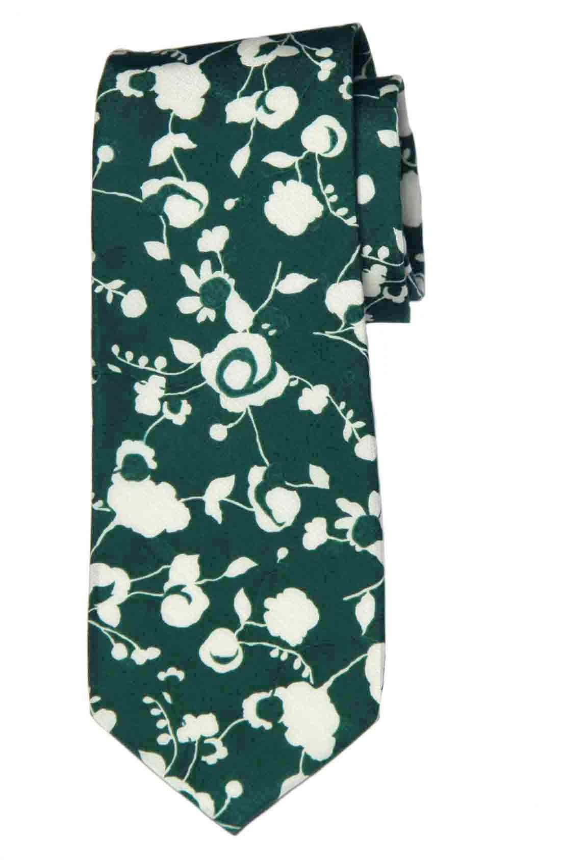 Cole Haan Tie Green White Floral Silk Cotton Men's