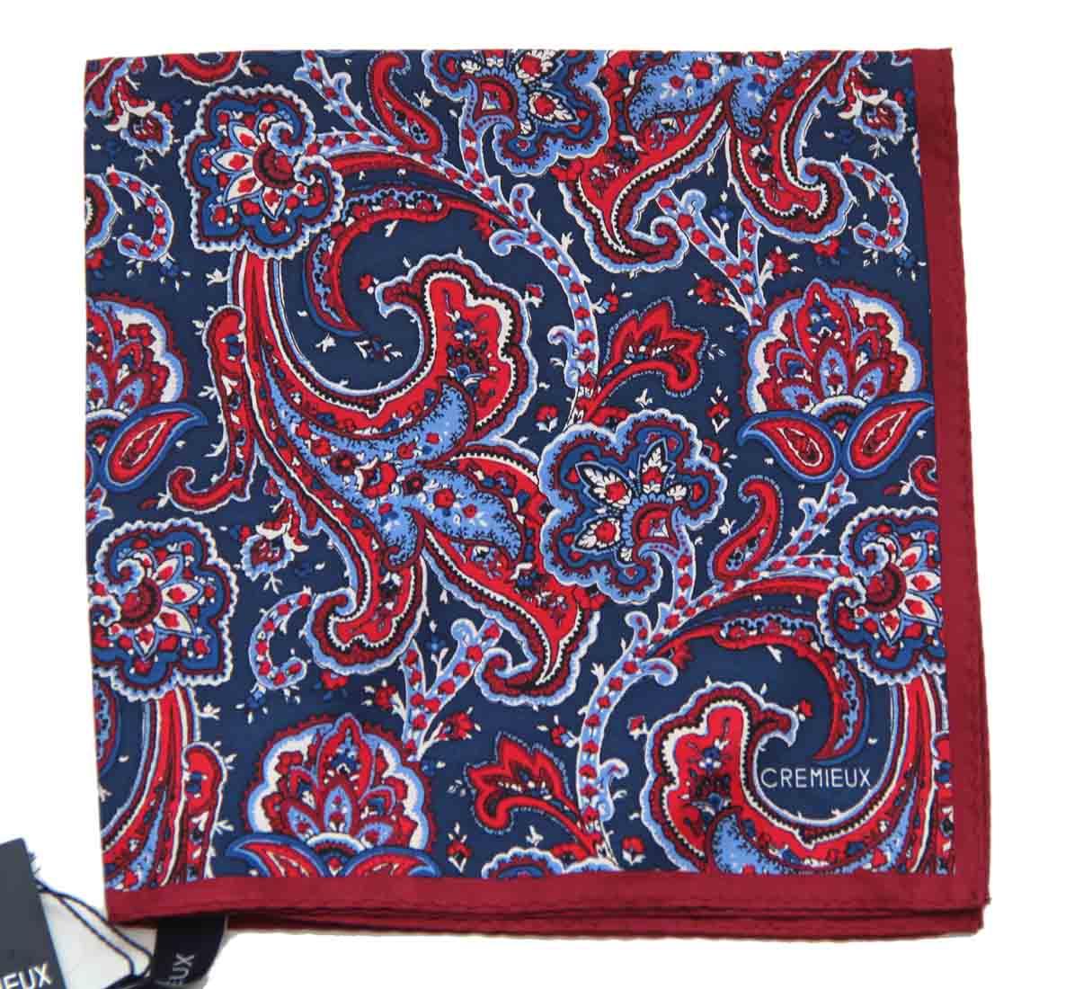 Daniel Cremieux Pocket Square Silk Red White Navy Blue Men's