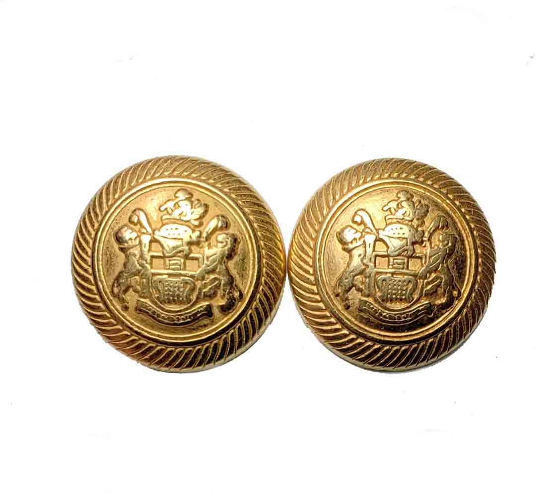 Two Vintage Jos A Bank Dome Blazer Buttons  Gold Brass Shank Men's  7/8 inch