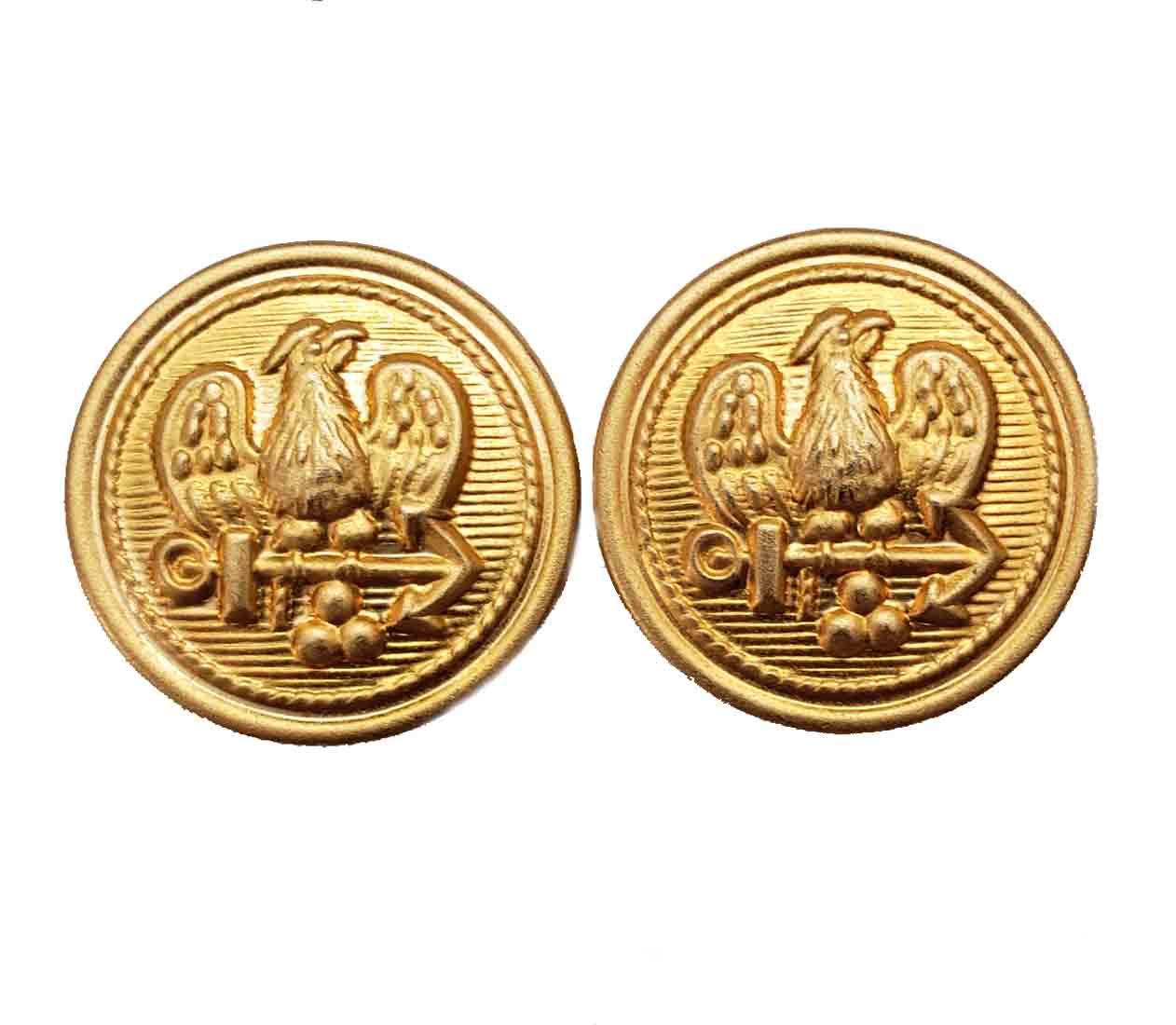Two Stanley Blacker Blazer Buttons Eagle Anchor Gold Brass Shank Men's