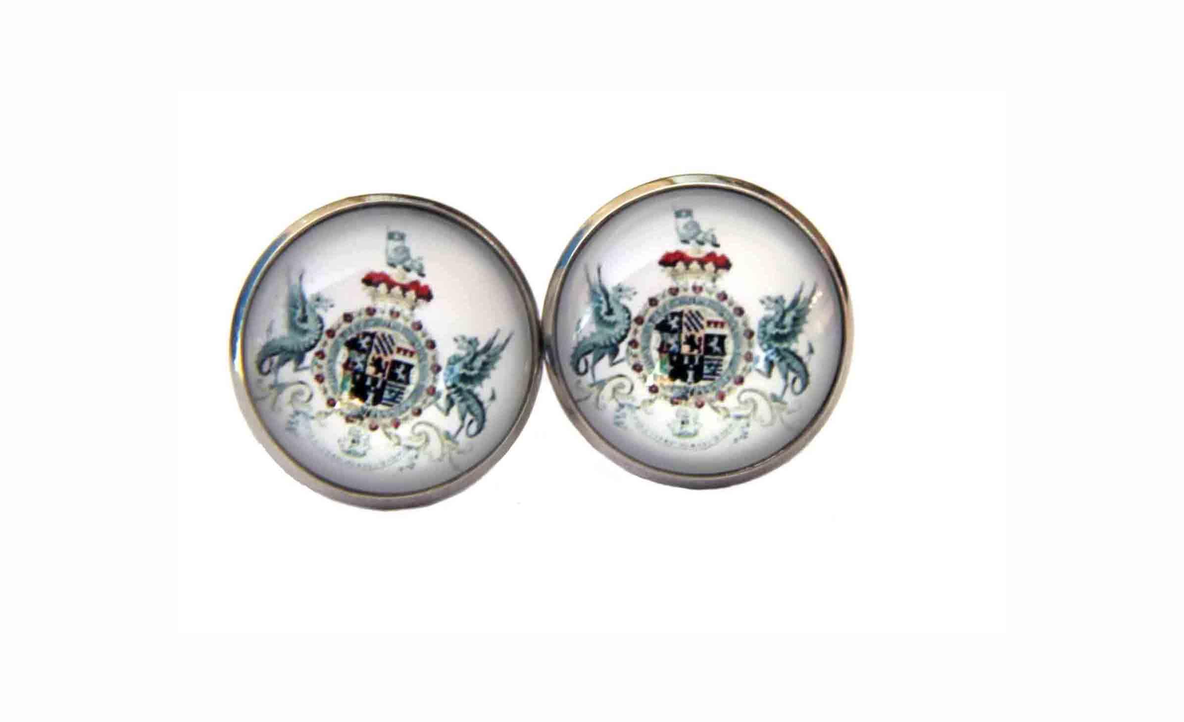 Gascoigne Cufflinks English Heraldry Silver Griffins Shield Men's