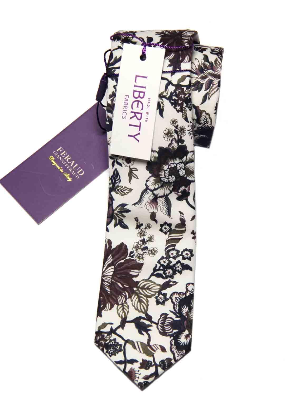 Feraud Liberty of London Fabric Tie Floral White Purple Maroon Cotton Men's