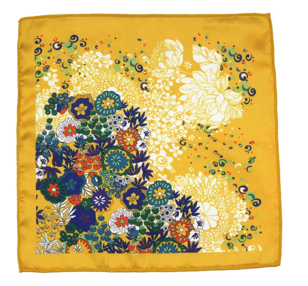 Gascoigne Pocket Square Silk Yellow Floral Men's