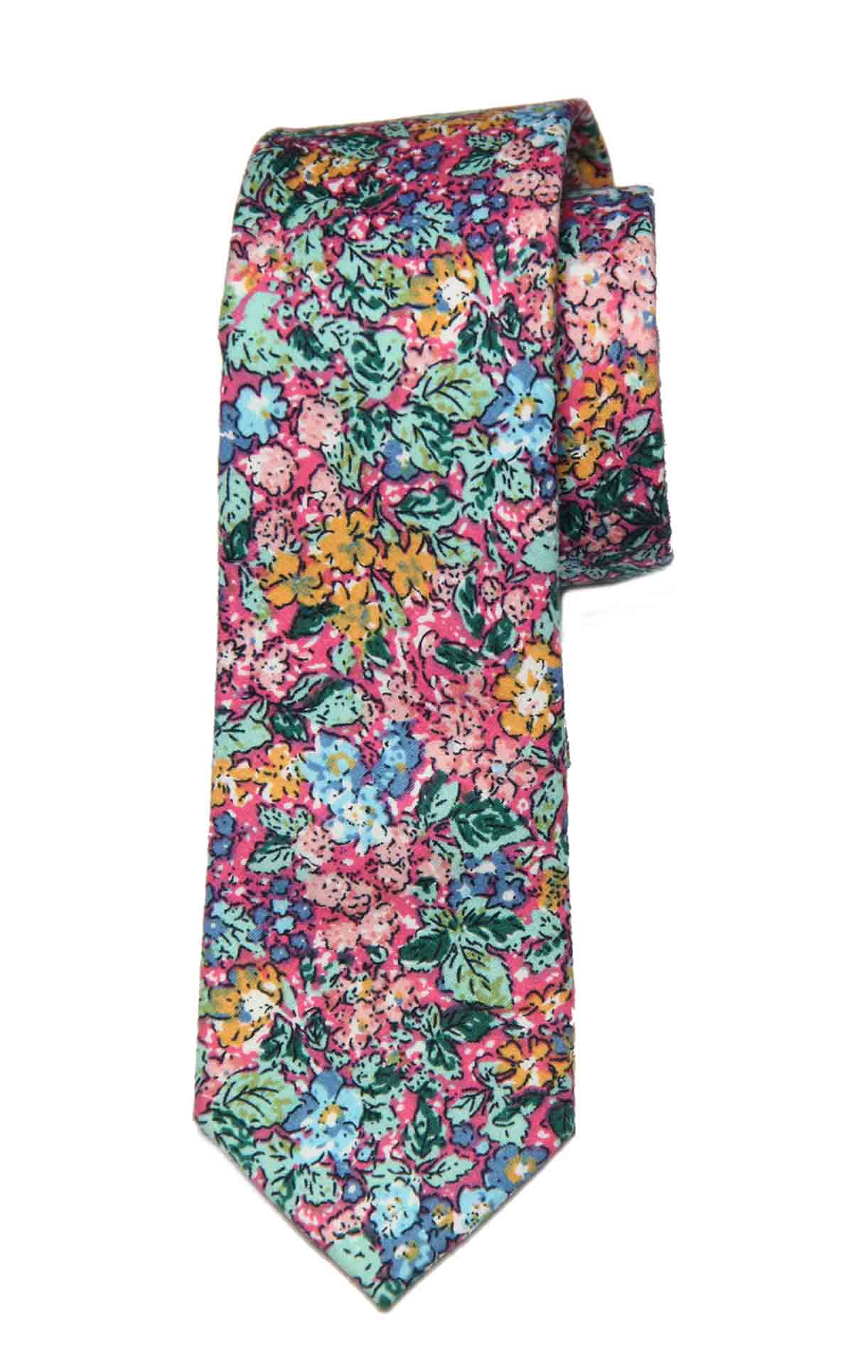 Gascoigne Tie Floral Cotton Narrow Multicolor Men's Narrow