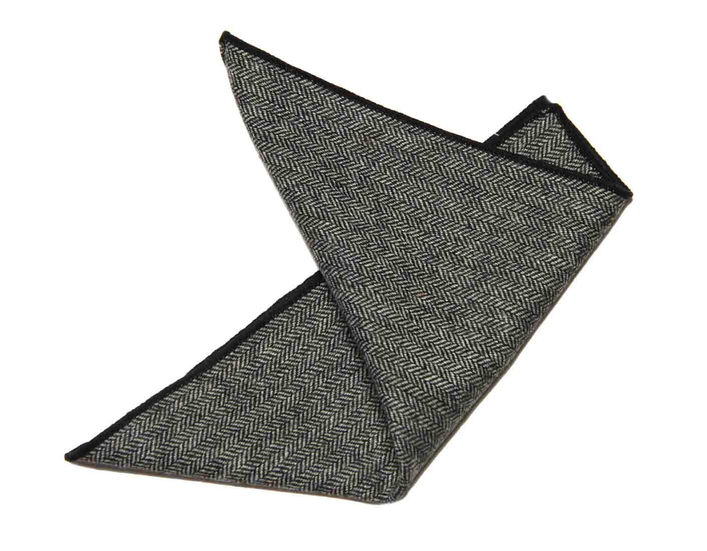 Gascoigne Pocket Square Wool Herringbone Gray Men's
