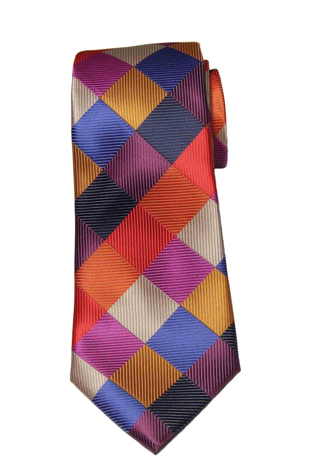Gascoigne Silk Tie Multi-color Geometric Hand Tailored Men's