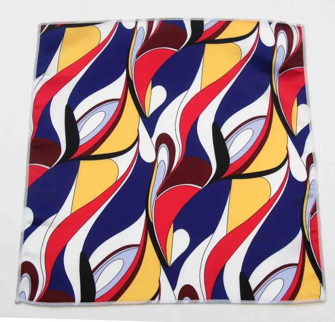 Gascoigne Pocket Square Silk 1960s Retro Mod Pattern Multicolor Men's